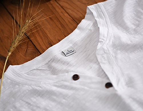 Insun Herren T-Shirt Henley Kurzarm Fisherman Hemd Sommer Hemden Einfarbig Weiß