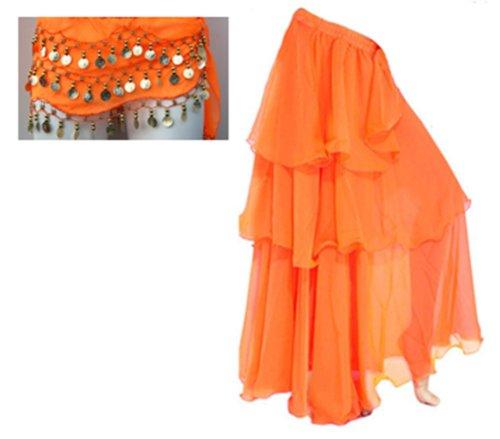 A-Express® gonna per danza del ventre, tango, samba, danze tribali e gitane, lunga a tre strati Orange WITH Belt