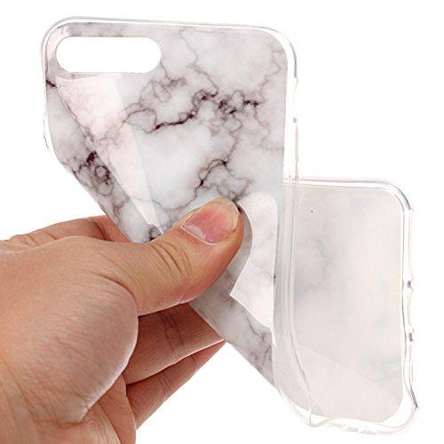 iPhone 7 Plus Hülle Silikon, LuckyW TPU Marmor Handyhülle für Apple iPhone 7 Plus/7S Plus(5.5 zoll) Soft Silikon Tasche Transparent Schale Clear Klar Hanytasche Durchsichtig Rückschale Ultra Slim Thin Weiß 1