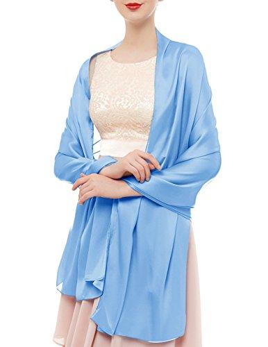 bridesmay Seide Halstuch 180 * 90cm Stola Schal Seidenschal Festlich Hochzeit für Kleider in verschiedenen Farben Light Blue Light Blue Schal