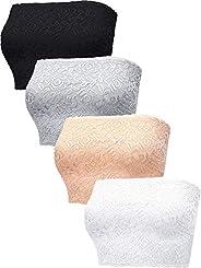 4 Pieces Women's Bandeau Bra Strapless Bandeau Top Floral Lace Tube Top Bra Stretchy Bandeau for Dress F