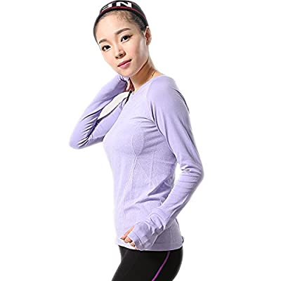 LWJ 1982 Long Sleeve Running Top T Shirts Womens Ladies Thermal Yoga Sports Tops Gym Clothes Women Thumb Hole
