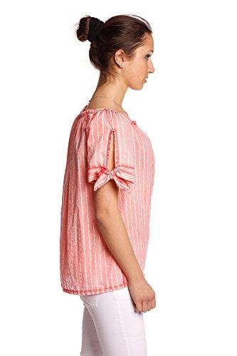 Abbino IG008 Blusen Femmes Filles - Fabriqué en Italie - Plusieurs Couleurs - Transition Printemps Été Automne Tendresse Poids Léger Dynamique Confortable Plaine Elegante Sexy Cotton Corail Rouge (Art. 80263)