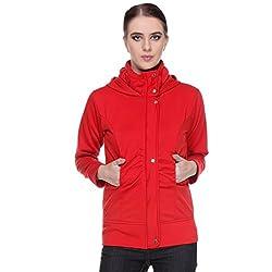 TeeMoods Womens Fleece Cotton Blend Full Sleeves Red Sweatshirt Hoodie Jacket With Zip For Ladies (Medium)