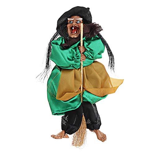 Bluelover 31Cm Halloween Hängen Animierte Reden Hexe Requisiten Lachen Sound Control Dekorationen - Grün