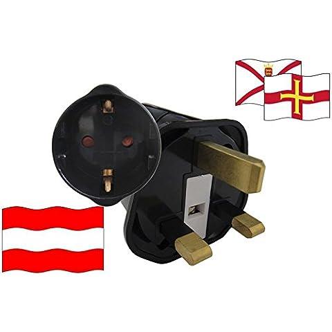 Adaptador de viaje vacaciones Islas del canal para dispositivos de Austria seguridad infantil y protección de contacto 250 V