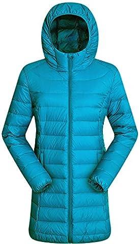 Valuker Damen Daunenmantel mit 90% Entendaunen Mantel Mit Kapuze Daunen Parka Winter Jacke Lang Ultra Leicht(DE:44 / EU:2XL / US:XL Blau)