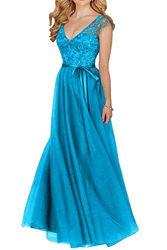 Gorgeous Bride Klassisch Traeger V-Ausschnitt A-Linie Lang Satin Tuell Spitze Abendkleider Cocktailkleider Brautmutterkleider Blau