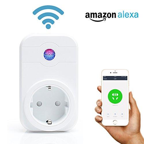 Fukkie Intelligente Steckdose - WLAN Smart Plug mit Timing-Funktion und Fernbedienung iOS Android Smartphone App Kontrolle, funktioniert mit Amazon Alexa [Echo, Echo Dot] und Google Home, Kein Hub notwendig