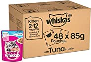 Whiskas Kitten (2-12 months) Wet Cat Food, Tuna in Jelly Monthly Pack, 48 Pouches (48 x 85g)