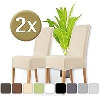 ENTSPANNO / Stuhlhussen 2er Set/elastische Stretch-Hussen Stuhl/Überzüge für Stühle/Baumwolle mit Einlaufschutz/edle Stuhlbezüge (Sand)