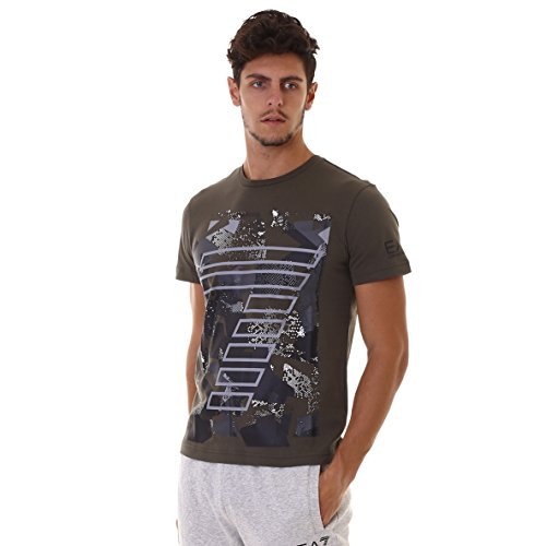 Emporio Armani EA7 Herren T-Shirt Kurzarm Kurzarmshirt runder Kragen Grün EU M (UK 38) 6YPTA2 PJ02Z 1852 (T-shirt Grünen Armani)