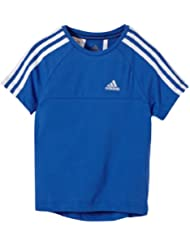 adidas Essentials 3-stripes - Camiseta, color blanco, azul, talla 6 años (116 cm)