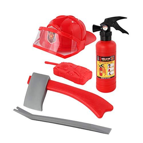 Toyvian Costume Pompiere Giocattolo Pompiere Accessori Gioco di Ruolo per Bambini 5 Pezzi