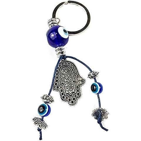 Mano di Hamsa portachiavi in metallo anello malocchio perline ebraismo Israele fortuna fascino amuleto