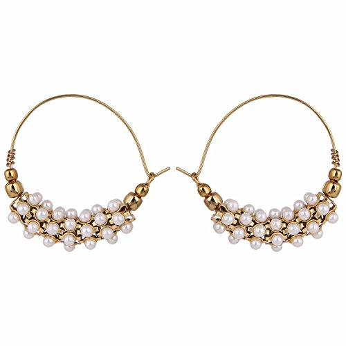 Parinaaz Antique Gold Plated Traditional Pearl Hoop Earrings Jewellery Jewellery for Girls