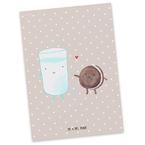 Mr. & Mrs. Panda Postkarte Milch & Keks - Milk, Cookie, Milch, Keks, Kekse, Kaffee, Einladung Frühstück, Motiv süß, romantisch, perfektes Paar, Postkarte, Geschenkkarte, Grußkarte, Karte, Einladung, Ansichtskarte, Sprüche