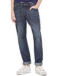 Springfield - Pantalon denim à grandes poches plaquées, délavé moyen et aspect usé - Homme