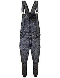 New Mens Acid wash Blue Denim Designer Dungaree Dungarees Jeans Mid Bib Overalls
