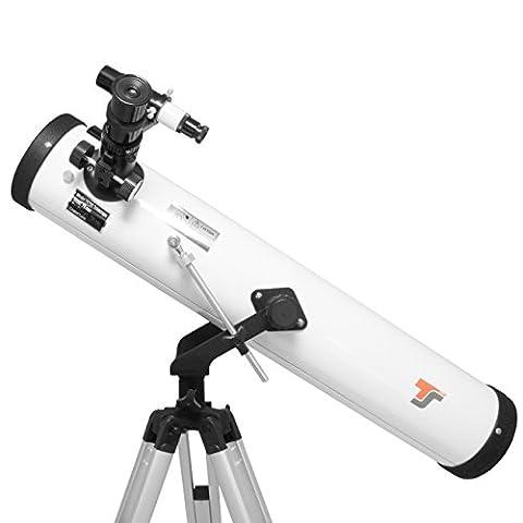 TS-Optics Teleskop Set für Einsteiger Kinder 76/700 mit Buch Mondfilter Montierung Stativ 1,25 Zoll Okular Sucher Barlowlinse Zubehör. Starscope767