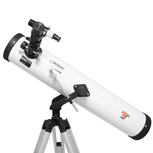 TS-Optics Teleskop für Anfänger und Kinder 76/700 mm + Montierung Stativ diverse 1,25 Zoll Okular Sucher Barlowlinse uvm. Starscope767
