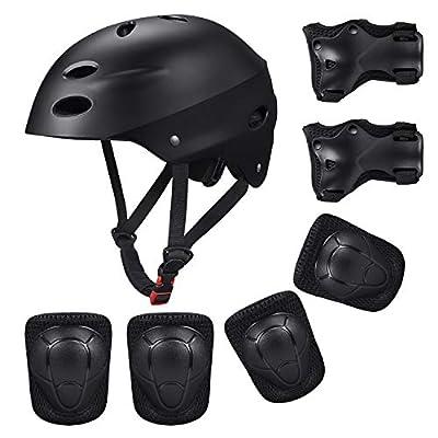 KUYOU Kinder Sport Schutzausrüstung, 7PCS Knieschoner Ellenbogenschoner Handgelenkschutz Helm Schutzset zum Draußen Rollschuhlaufen Inline Skates Skateboarding Radfahren