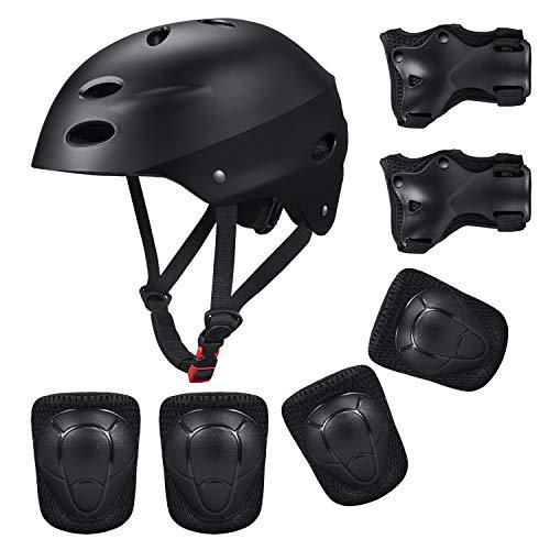 Kinder Sport-Schutzausrüstung von KUYOU, 7PCS Knieschoner Ellenbogenschoner Handgelenkschutz Helm Schutzset zum Draußen Rollschuhlaufen Inline Skates Skateboarding Radfahren (schwarz)