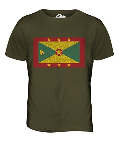 CandyMix Grenada Kritzelte Flagge Herren T Shirt Khaki Grün