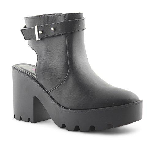 NEU Damen Dolcis geschoben Genagelte Sohle Plattform Schnitt Out Stiefelette Damen Mädchen Elegant Going Out Schuhe Schwarz/Schwarz