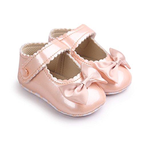 Luerme Baby Mädchen Schuhe Kleinkind Niedlich Bowknot Prinzessin Schuhe Weich Sohle Anti-Rutsch Lauflernschuhe Krippeschuhe (6-12 Monate, Champagner)