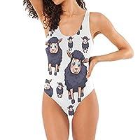 LKZNT One Pieces Beachwear Black Sheeps Swimsuit Swimwear for Women M