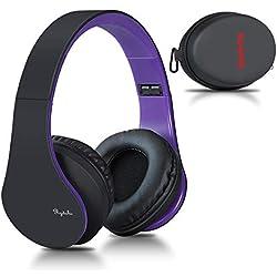 Casque Bluetooth sans Fil, Casque Audio stéréo Pliable sans Fil et Filaire avec Micro intégré, Micro SD/TF, FM pour iPhone Wiko Samsung iPad PC (Nior-Pourpre)