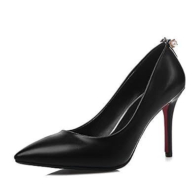 BalaMasa Girls Metal Ornament Bead European Style Black Imitated Leather Pumps-Shoes - 2.5 UK
