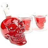 SET Skull- Flasche (350ml) mit 2 Totenkopfgläsern (70ml), für die Hausbar Party, Geschenk im Totenkopfdesign, Vodka, Whiskey, Flasche, Kristall- Schädel, Wein- Dekanter, Rum, Farbe: Transparent