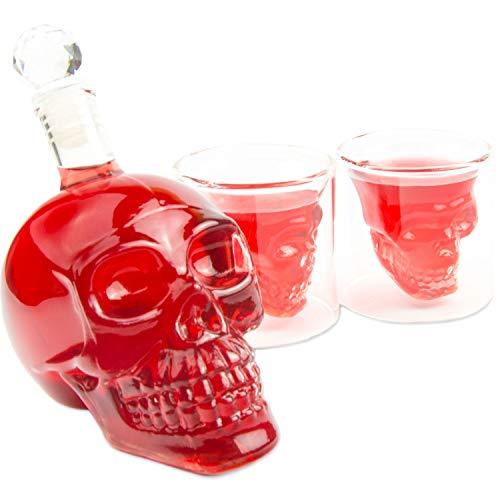 SET Skull- Flasche (350ml) mit 2 Totenkopfgläsern (70ml), für die Hausbar Party, Geschenk im...