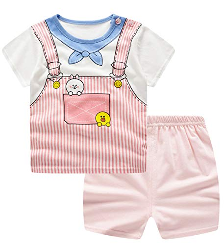 JOSSOIOJ Mädchen Kurzarm Pyjamas Set Kinder Short Pjs Sets Baby Sommer Cotton Sleepwears (Color : Bear, Size : 70) -