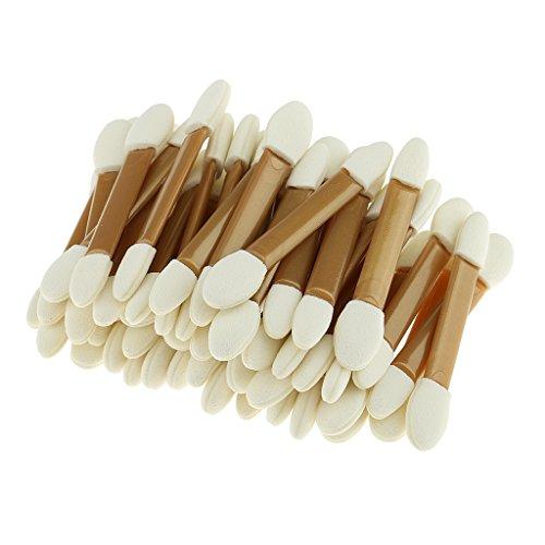 Sharplace 50pcs Pinceaux à Usage Unique Double Extrémité en Eponge Incliné Ovale Brosses Applicateur pour Fard à Paupières