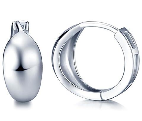 Infinite U Simple Smooth Polish 925 Sterling Silver Women Hoop Earrings (with Gift Bag)