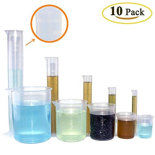 benail 10Stück Kunststoff Zylinder und Becher Set, inkl. 5Pack klar Kunststoff abgestufter Zylinder (10, 25, 50, 100, 250ml) und 5Stück Kunststoff Becher Set (50, 100, 250, 500, - Abgestufter 1000 Zylinder