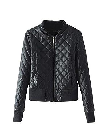 Femme Simili Cuir Biker Moto Zipper Faux Cuir Manteau Biker Veste Noir XL