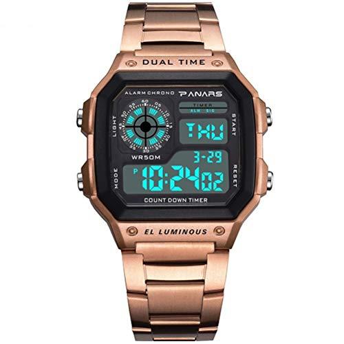 MEIEI Sportuhr, wasserdichte 50M Classic Square Multifunktionsuhr Countdown Leuchtuhr Wecker Kalender Double Time Backlight Unisex Uhr (Color : Rose Gold)