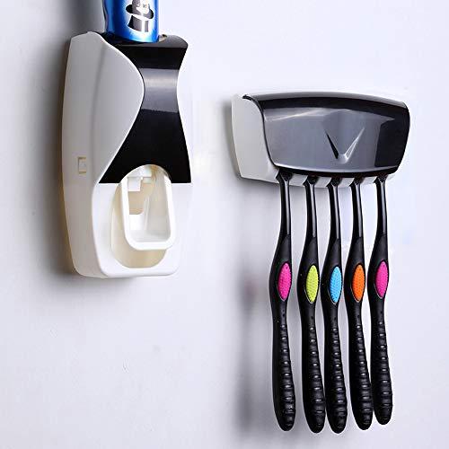 OMZGXGOD - Dispensador de Pasta de Dientes Automático y Portacepillos de Dientes - Práctico Set de Baño Familiar con Soporte de Cepillos de Dientes y Dosificador de Pasta Dental