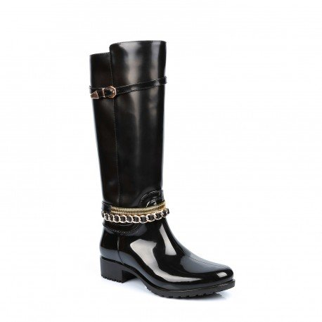 Ideal Shoes - Bottes de pluie bi-matière avec ceinturons Laurinda Noir