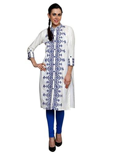 Kurtis for women by ALZARA White Khadi Cotton Blue Printed Chinese Collar Long Dress