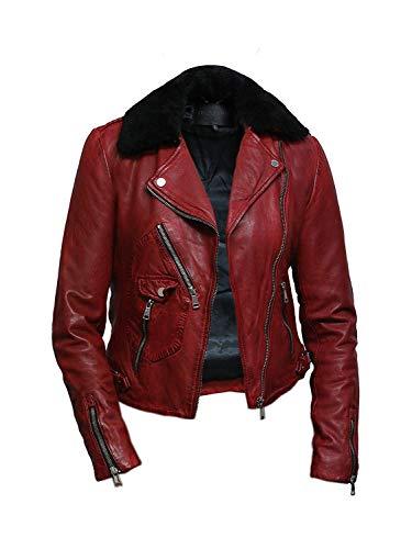 Brandslock Damen Echtes Leder Ausgestattet Biker Jacke (Small, Rot) - 3