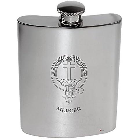 Mercer Family Crest 6oz Polished Pewter Kidney Flask