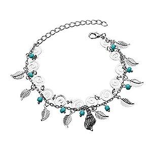 Böhmischen Fußkettchen Für Frauen Mode Silber Farbe Blatt Kreative anhänger Fußkettchen Armband Schmuck Strand Knöchel Zubehör,1