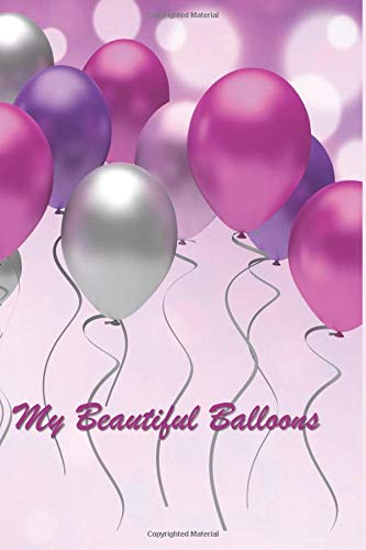 """My Beautiful Balloons: 124 Page Softcover, Has Blank Pages with a Balloon Border, College Rule Composition (6"""" x 9 """") Boho Purple por Purple Phoenix Publishing"""