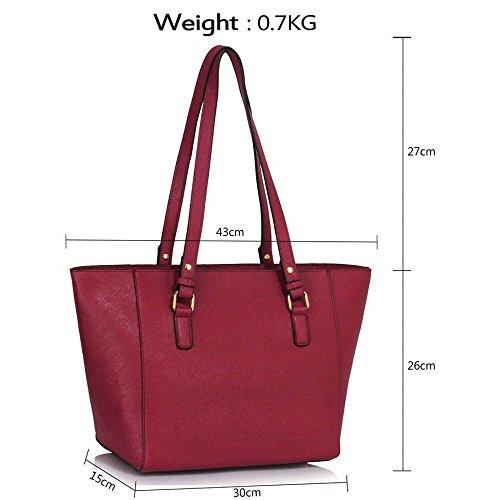 Trend Star woman designer handbag ladies fashion patent tote bag (D - Black / White) F - Burgund