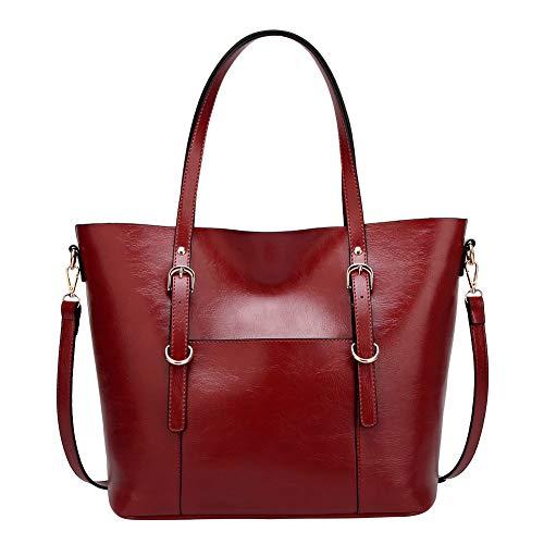 Santimon Leder Handtasche Damen Tasche Umhängetasche Elegant Vintage Schule Travel Crossbody Damentasche Weinrot